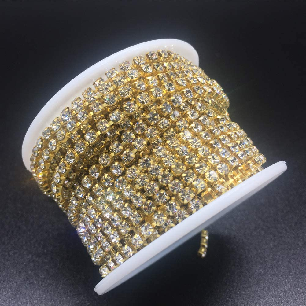 Crystal Rhinestones Close Chain Sew on Crystal Rhinstone Chain Trim Crystal Claw Cup Chain Roll Gold AB, SS6 2MM Dowarm 1 Roll 10 Yards Rhinestone Chain