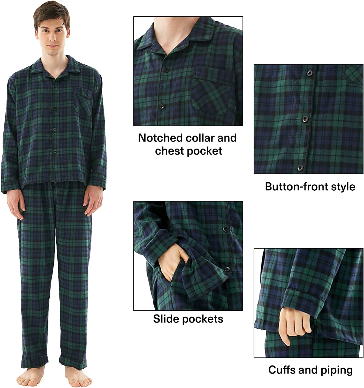 Family Christmas Pajamas Set Buffalo Plaid 2-Piece Holiday Matching Pjs Button Up Jammies Sleepwear for Adults Kids