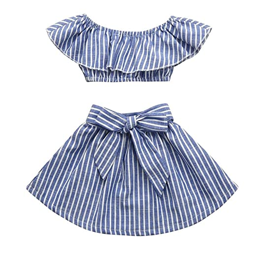 b194508e4 Amazon.com  2 Sets of Baby Clothes 2Pcs Toddler Baby Kids Girls ...