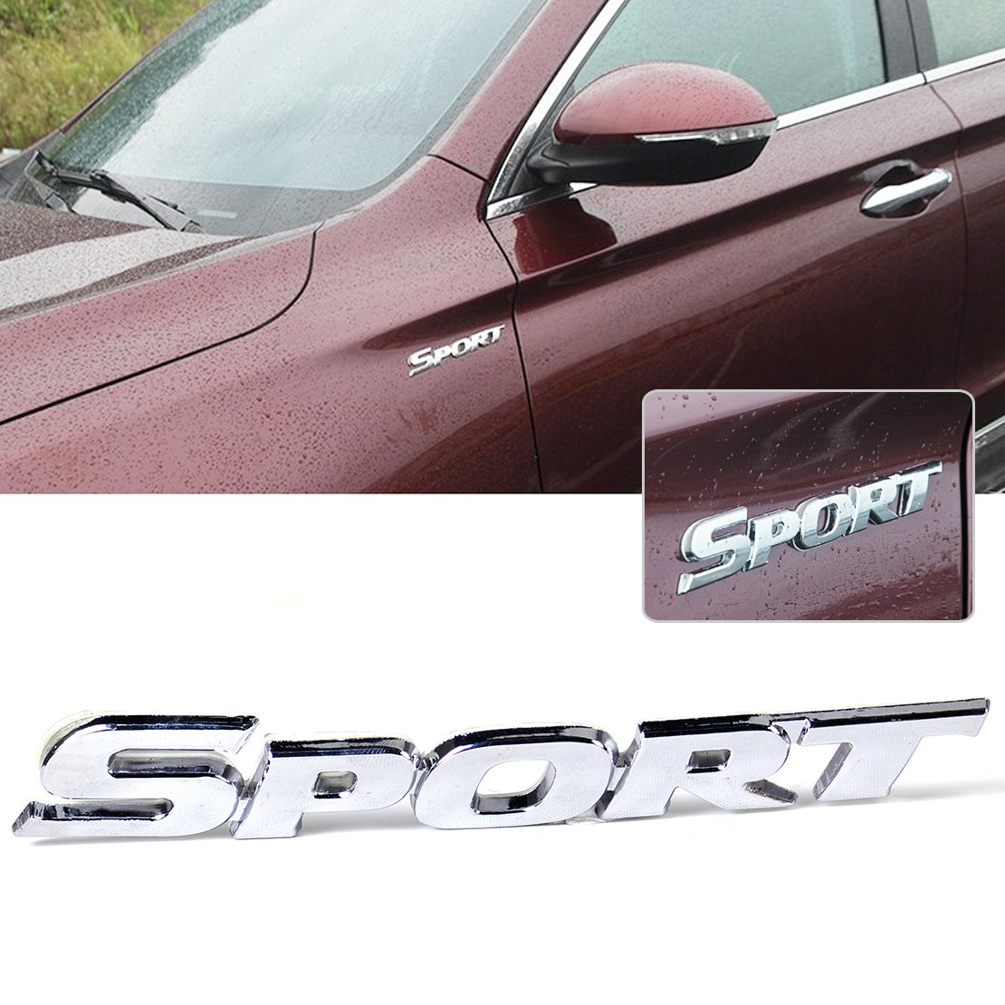 HUAYT 2Pack 3D Metal Car SPORT Sticker,Premium Car Side Fender Rear Trunk Emblem Logo Badge Decals Compatible for Ford//JEEP//BMW//Dodge Ram//Cadillac//Benz//Chrysler//Toyota//Nissan//Chevrolet-Matt Black