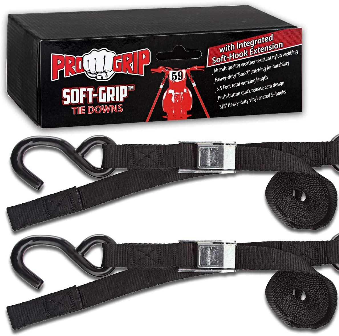 Blk Progrip Powersports Motorcycle Soft Loop Tie Down Straps Lab Tested 2 Pack