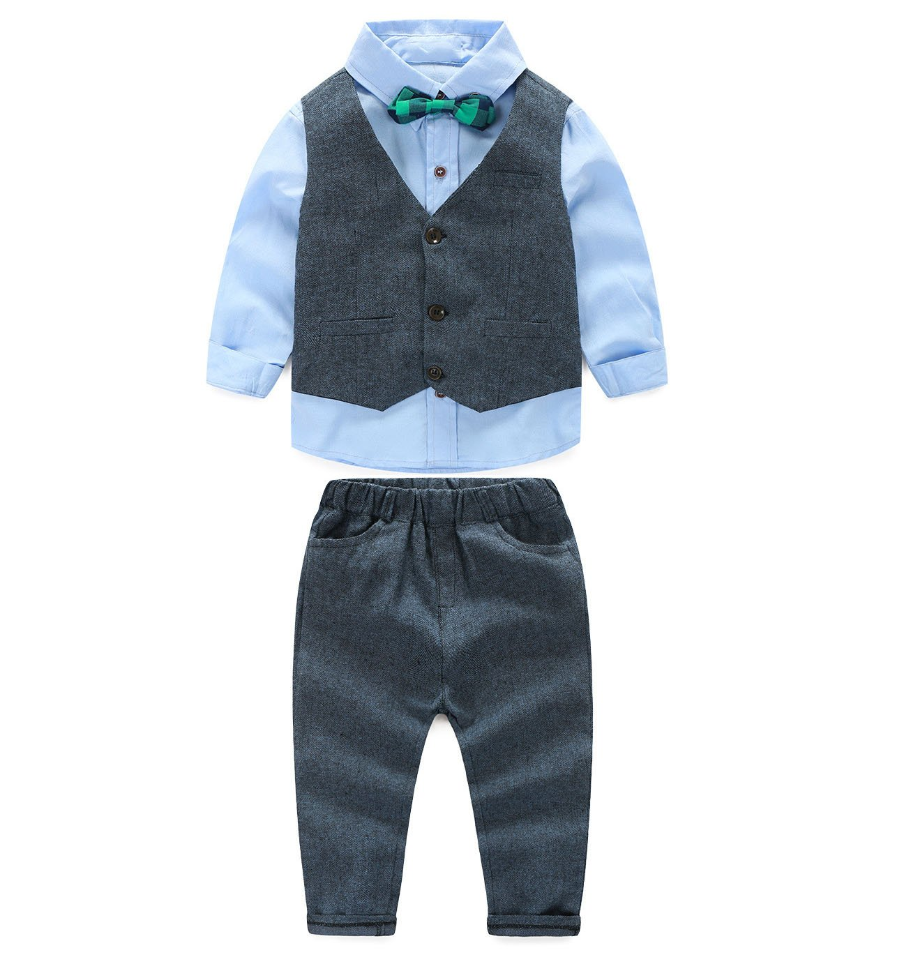 JIANLANPTT 3pcs Baby Boy Gentleman Set Vest Shirt and Pant Formal Suit