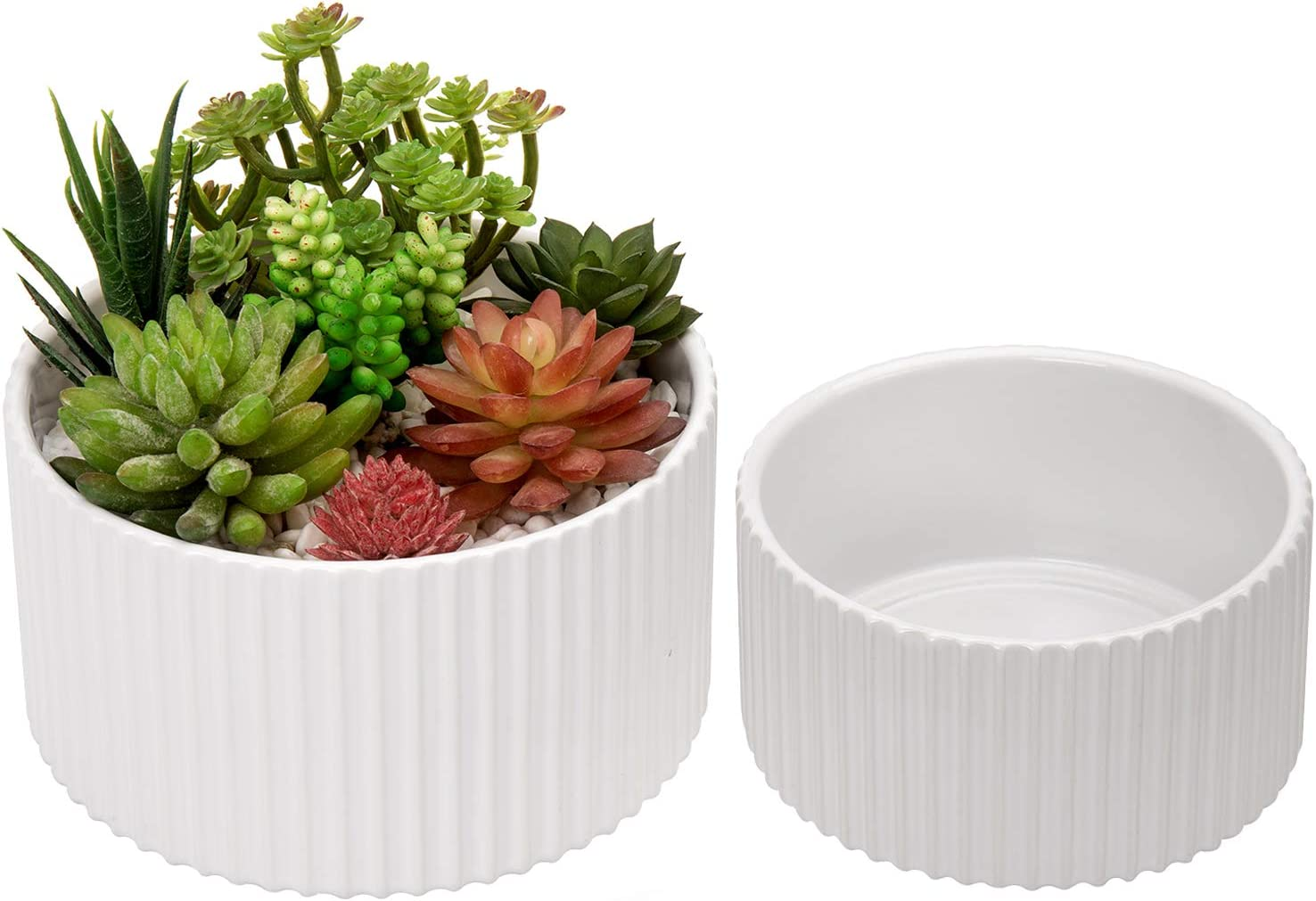 MyGift Large & Small 7 and 6 Inch Glazed White Vertical Ribbed Ceramic Flower Pot Planters