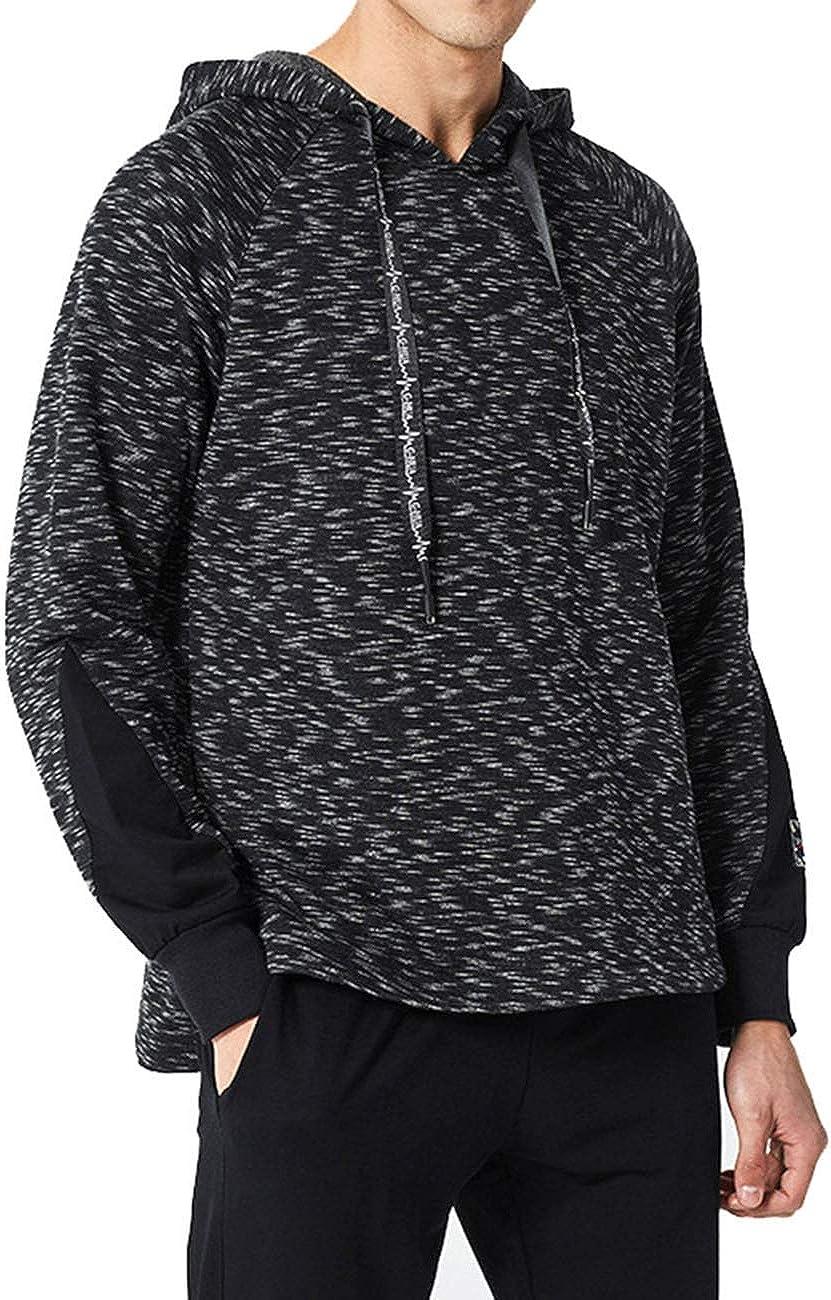 Bangerdei Mens Long Sleeve Patchwork Hoodie Top Drawstring Pullover Jumper Shirt