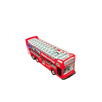 "KinsFun Die Cast Metal 6"" NYC Sightseeing City Tour Red Double Bus Pull Back Action: Toys & Games"