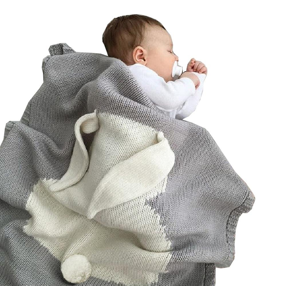 Singleluci Kids Rabbit Knitting Blanket Play Blanket Crib Wrap Blanket (Gray)