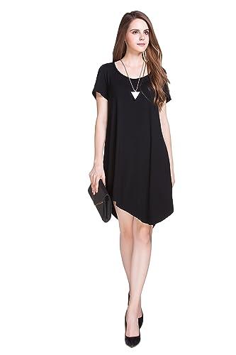 Auroker Women's Dresses Either Short or Long Sleeve Casual Loose T-Shirt Dress