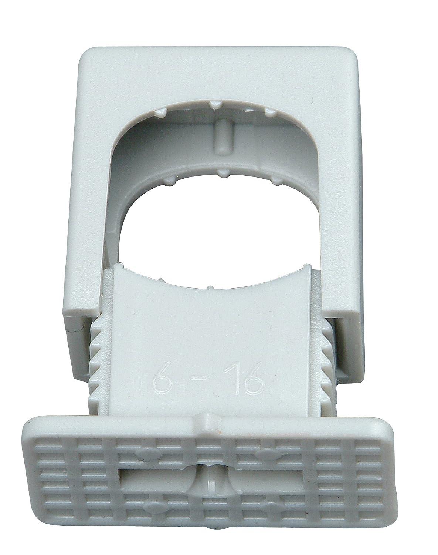 Kopp Druck Iso-Schellen aus Kunststoff (50 Stü ck), 6 - 16 mm, M6 Gewinde, Kabelbefestigung fü r Leitungen und Rohre, mit Schraubloch, grau, 343404099