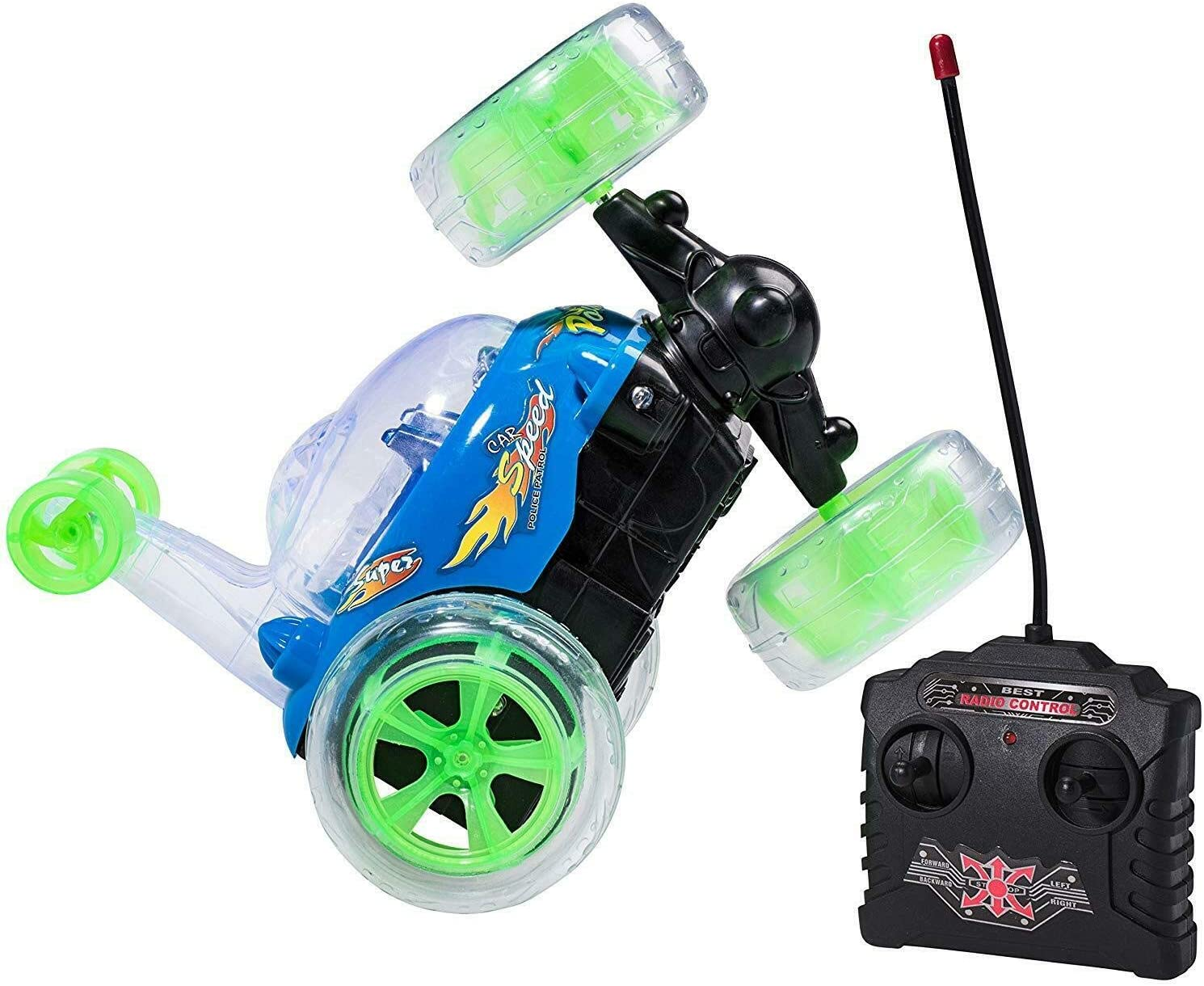 Top Race Control remoto RC Car Cyclone Twister RC niños juguete Stunt Car con luces LED y sonido musical - 49 MHz