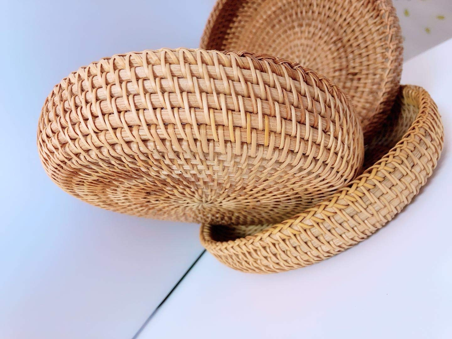 Rattan Basket Dried Fruit Basket Woven Basket Basket For Gifts Fruit Baskets Wicker Picnic Basket Wicker Basket Candy Basket 2019 Organizer Shallow Basket Gift Baskets For Women (2PCs wicker basekt) by TIMESFRIEND (Image #5)