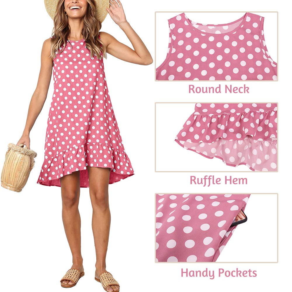 Exlura Women/'s Casual Sleeveless Polka Dot Dress Ruffle Flounce Round Neck Loose Swing A-Line Pocket Mini Dress