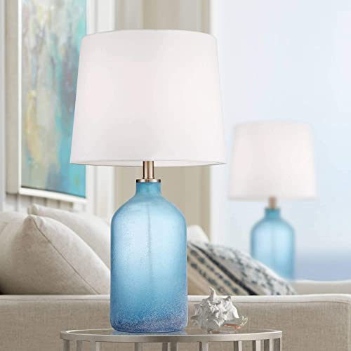 Aston Coastal Table Lamps Set of 2 Frosted Sea Blue Glass White Drum Shade for Living Room Family Bedroom Nightstand – 360 Lighting