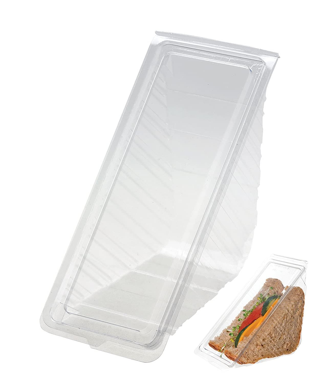 75 x Deep Fill Sandwich / Lunch / Party Wedge / Box with Hinged Lid (11 x 11 x 6cm) Swoosh Supplies