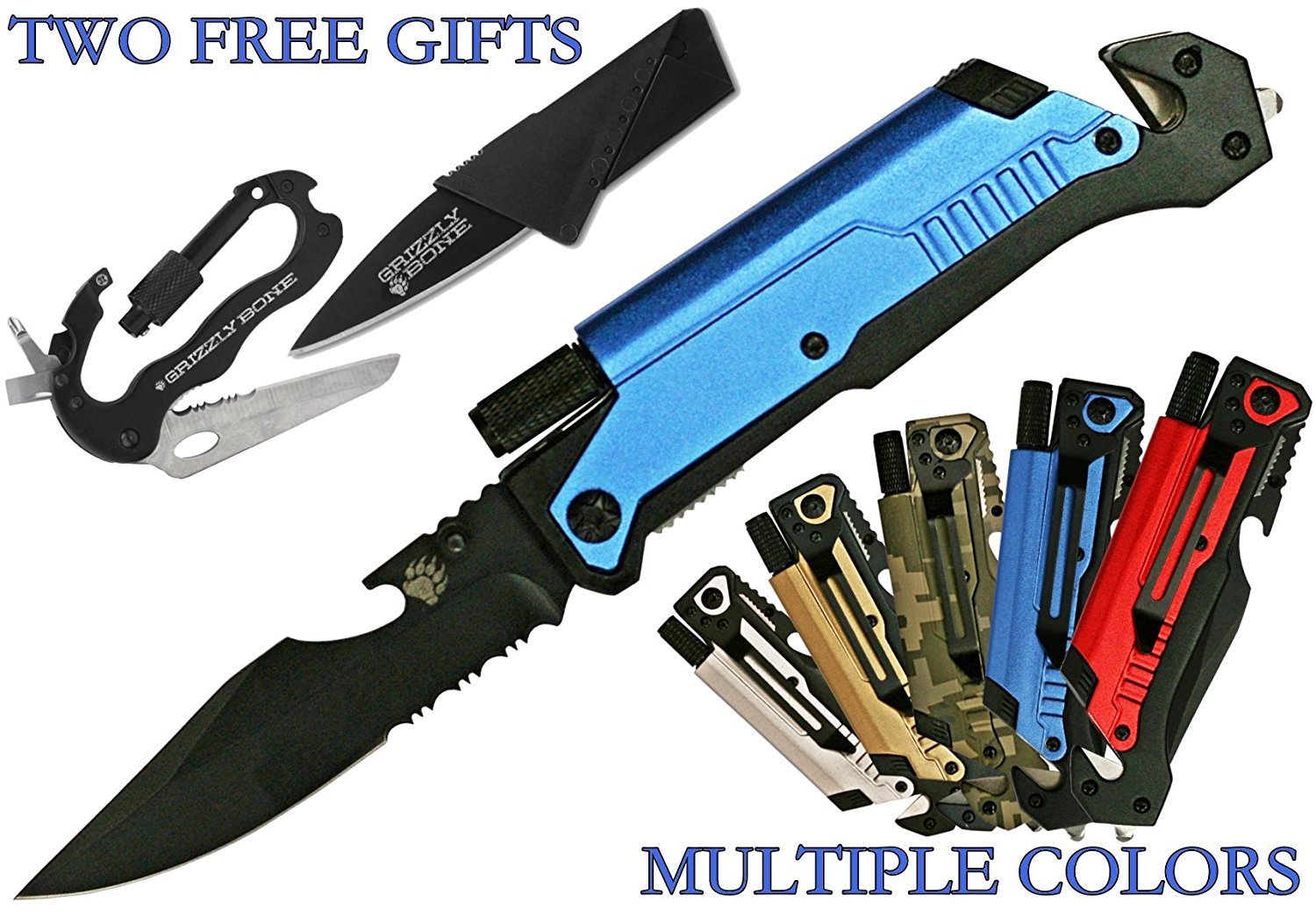 survival knife with glass breaker and seat belt cutter