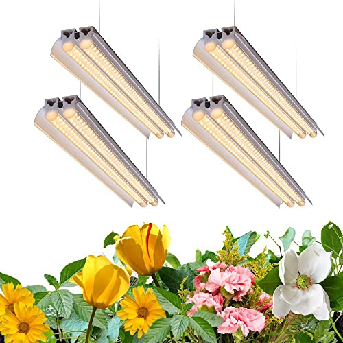 Monios-L T5 LED Grow Light, 4FT Full Spectrum Sunlight Replacement with Reflector, 240W 4 60W Double Tube White Light Integrated Fixture with Hanging System for Indoor Plants,Plug and Play 4-Pack