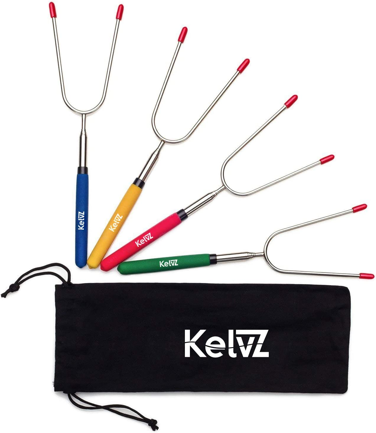 "KelvZ 34"" Telescoping Marshmallow Roasting Sticks | Set of 4 Camping Skewers | Bonus Bag & Recipes Ebook | Smores Sticks for Fire Pit | Hot Dog Sticks | Campfire Forks Camping Equipment Camping Gear"