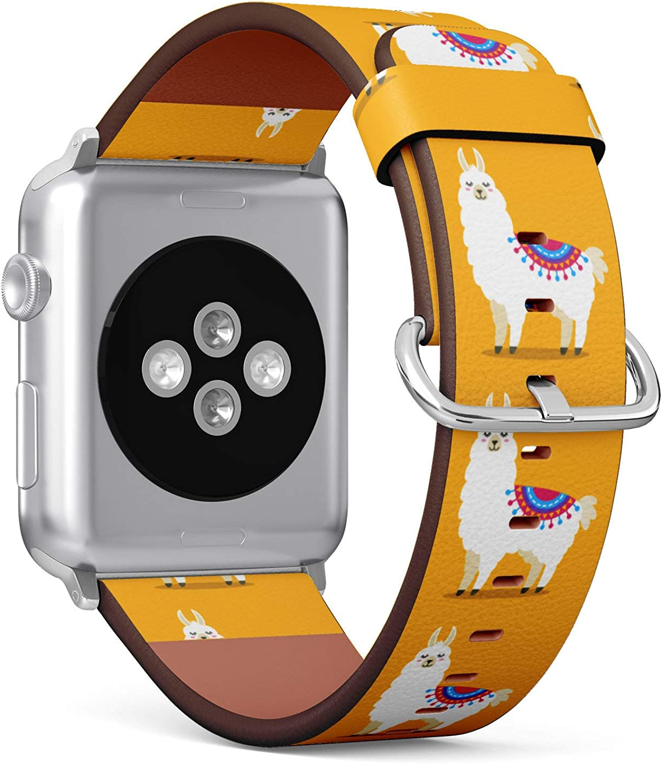 (Cute Pattern with Cartoon Llama) Patterned Leather Wristband Strap for Apple Watch Series 4/3/2/1 gen,Replacement for iWatch 42mm / 44mm Bands