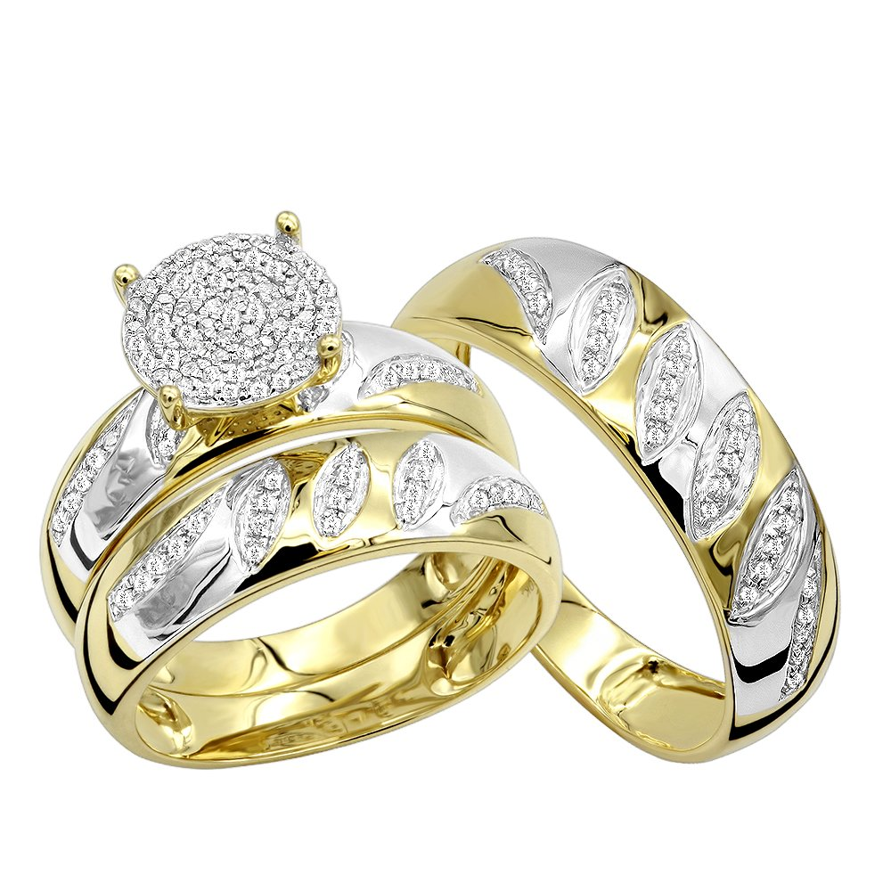 10K Gold Engagement Rings and Wedding Band Set His Hers Trio Set 0.4ctw (Yellow Gold, Size 7.5)