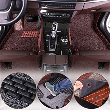 Wine Red All Weather Floor Mats Custom Fit for Audi Q5 2009-2017 Heavy Duty Floor Protection Non Slip Leather Front+Rear 4 Pieces
