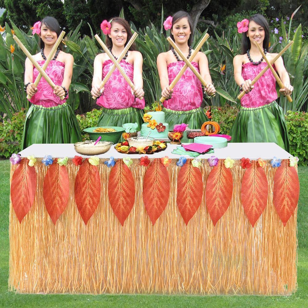 Nsblln Gruppo di 9 Piedi Hawaiana Paglia Recinzione Tavolo Gonna Table