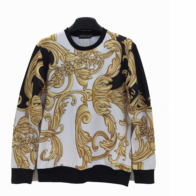 YonBii Men's Hoodies Long Sleeve T-shirt Printed Rattan Sweatshirt L