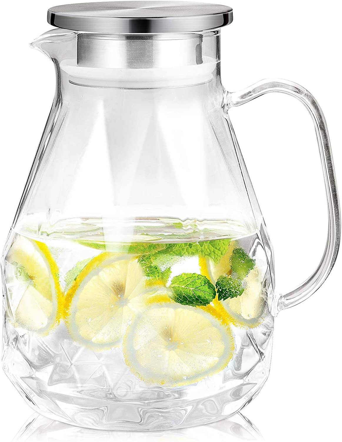 Four Spring 60 Ounces Glass Pitcher with Stainless Steel Lid, Water Jug with Unique Diamond Pattern, Carafe for Homemade Beverages