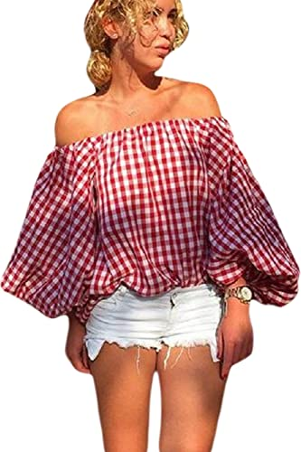 OFF - Hombro Mujeres Vintage Plaid Camisa Cuello Barco Puff Sleeve Top
