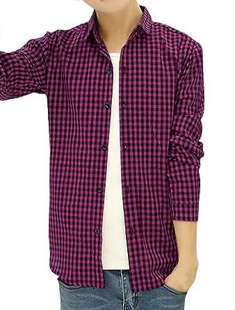 sourcing map - Camisa Casual - para Hombre Rosa Fucsia: Amazon.es: Ropa y accesorios