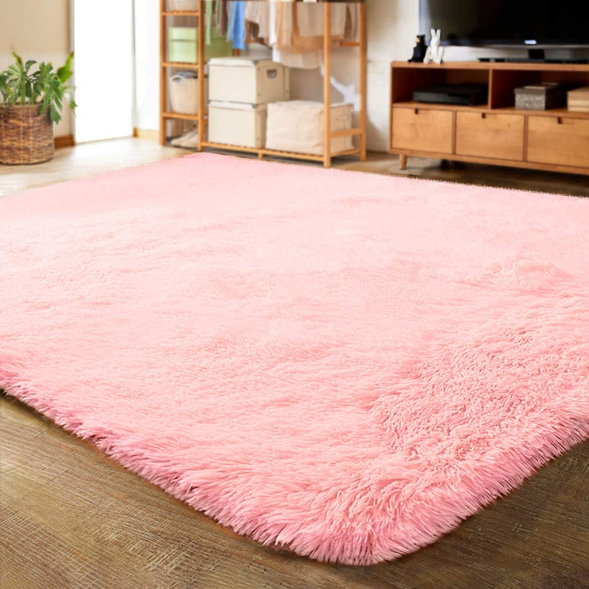 LOCHAS Ultra Soft Indoor Modern Area Rugs Fluffy Living Room Carpets for Children Bedroom Home Decor Nursery Rug 5.3x7.5 Feet, Pink: Furniture & Decor