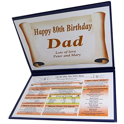 NWM Gifts PERSONALISED 80TH BIRTHDAY GIFT 1938 THE DAY YOU WERE BORN