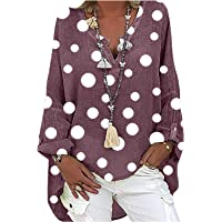 Linnen blouse voor dames, oversized linnen blouse met lange mouwen, boho-print, bovenstuk, V-hals, longshirt, losse…