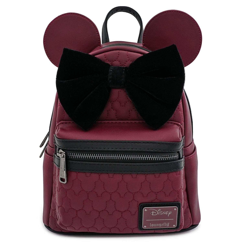 ویکالا · خرید  اصل اورجینال · خرید از آمازون · Loungefly Minnie Mouse Maroon Quilted Mini Backpack wekala · ویکالا