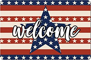 4th of July Welcome Floor Mat Patriotic American Flags Stars and Stripes Printed Doormat Independence Day Rubber Back Non-Slip Entryway Rugs for Bathroom Bedroom Kitchen Home Decor, 15.7 x 23.6 Inch