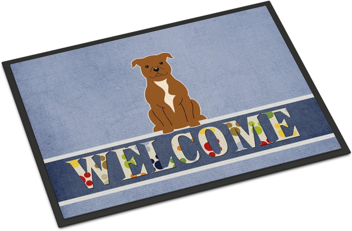 Caroline's Treasures BB5628MAT Staffordshire Bull Terrier Brown Welcome Indoor or Outdoor Mat 18x27, 18H X 27W, Multicolor