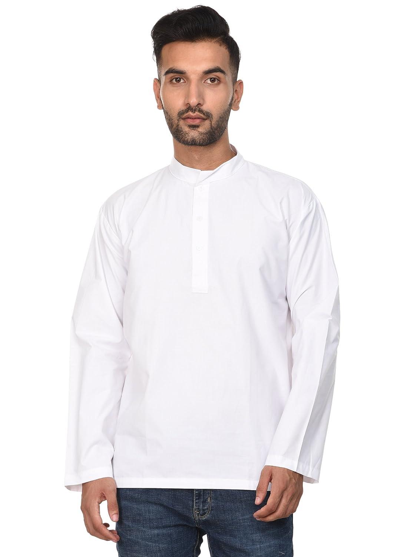 Kurta Long Sleeve Cotton Indian Tunic Button Up White Mens Fashion Yoga Top