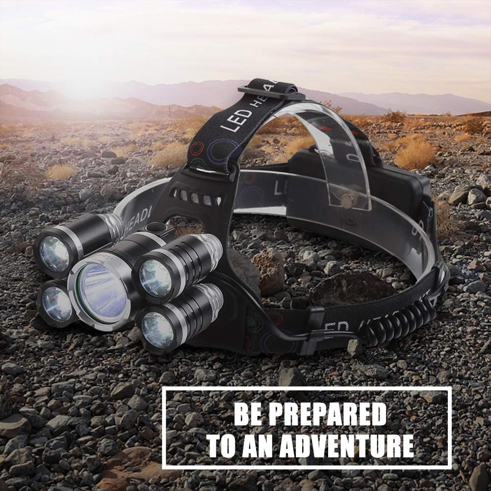 Headlamp 12000 Lumen Ultra Bright CREE LED Work Headlight USB Rechargeable, 4 Modes Waterproof Head Lamp Best Head Lights for Camping Hiking Hunting Outdoors by Alyattes (Image #7)