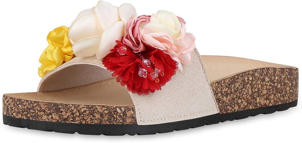 SCARPE VITA Damen Sandalen Pantoletten Blumen Korkoptik
