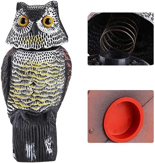Repelente De Aves Búho Falso Señuelo para Jardín Brillantes Ojos Y Aterrador Control De Sonido Espantapájaros Jardín Patio Mover: Amazon.es: Hogar