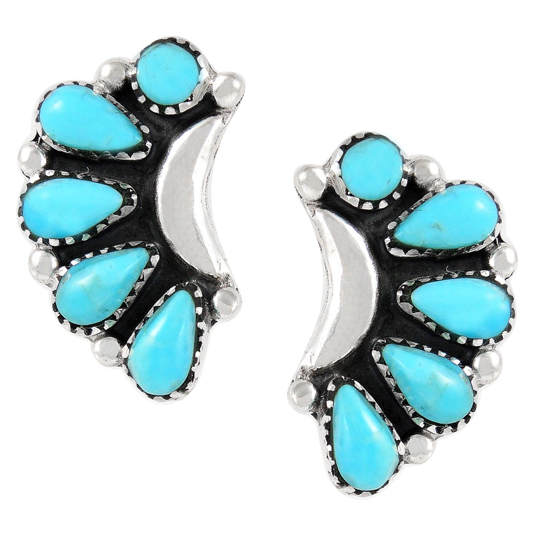 Turquoise Earrings 925 Sterling Silver Genuine Turquoise (SELECT style) (Blossoms)