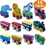 FLASH SALE | Wooden Train Engines, The Premium 12 Pcs Cars Collection With 3 Extra Animals, 100% Compatible with Thomas Railway, Brio Tracks, and Chuggington System + Free Gift Box Design