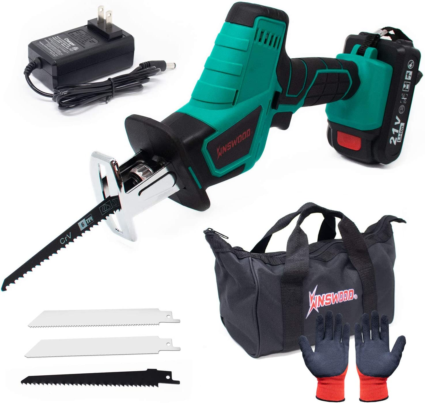 Kinswood 20V MAX 1.3A Reciprocating Saw w/Lithium-ion Battery Blades & ToolBag