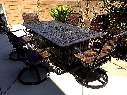 Patio Swivel Dining Set 7 Piece Santa Clara Chairs Cast Aluminum Furniture