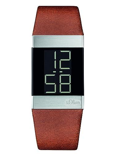 S.Oliver Reloj Digital de Cuarzo Unisex con Correa de Cuero – SO-3182