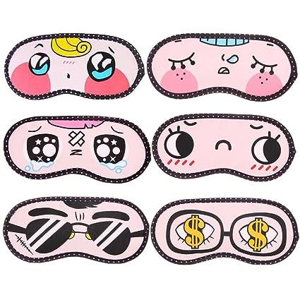 6 unidades de máscara de dormir con diseño de dibujos animados divertidos y novedosos ojos máscara