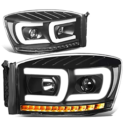 DNA Motoring HL-HPL-RM06-G2-BK-CL1 Pair LED DRL+Sequential Chasing Turn Signal Projector Headlight: Automotive