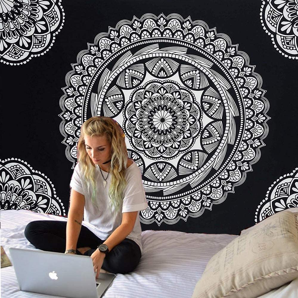 ENJOHOS Mandala Tapestry Wall Hanging Black and White Indian Bohemian Wall Hanging for Bedroom Living Room Hippie Flower Drapes for Ceiling, W79 x T59