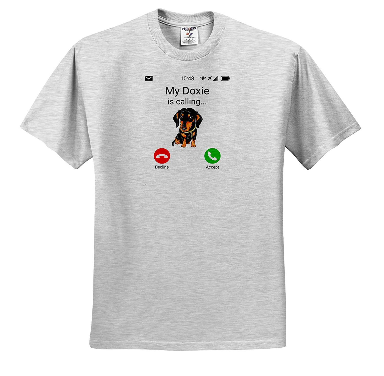 My Doxie is Calling Funny Incoming Phone Call Illustrations ts/_316052 3dRose Carsten Reisinger Adult T-Shirt XL