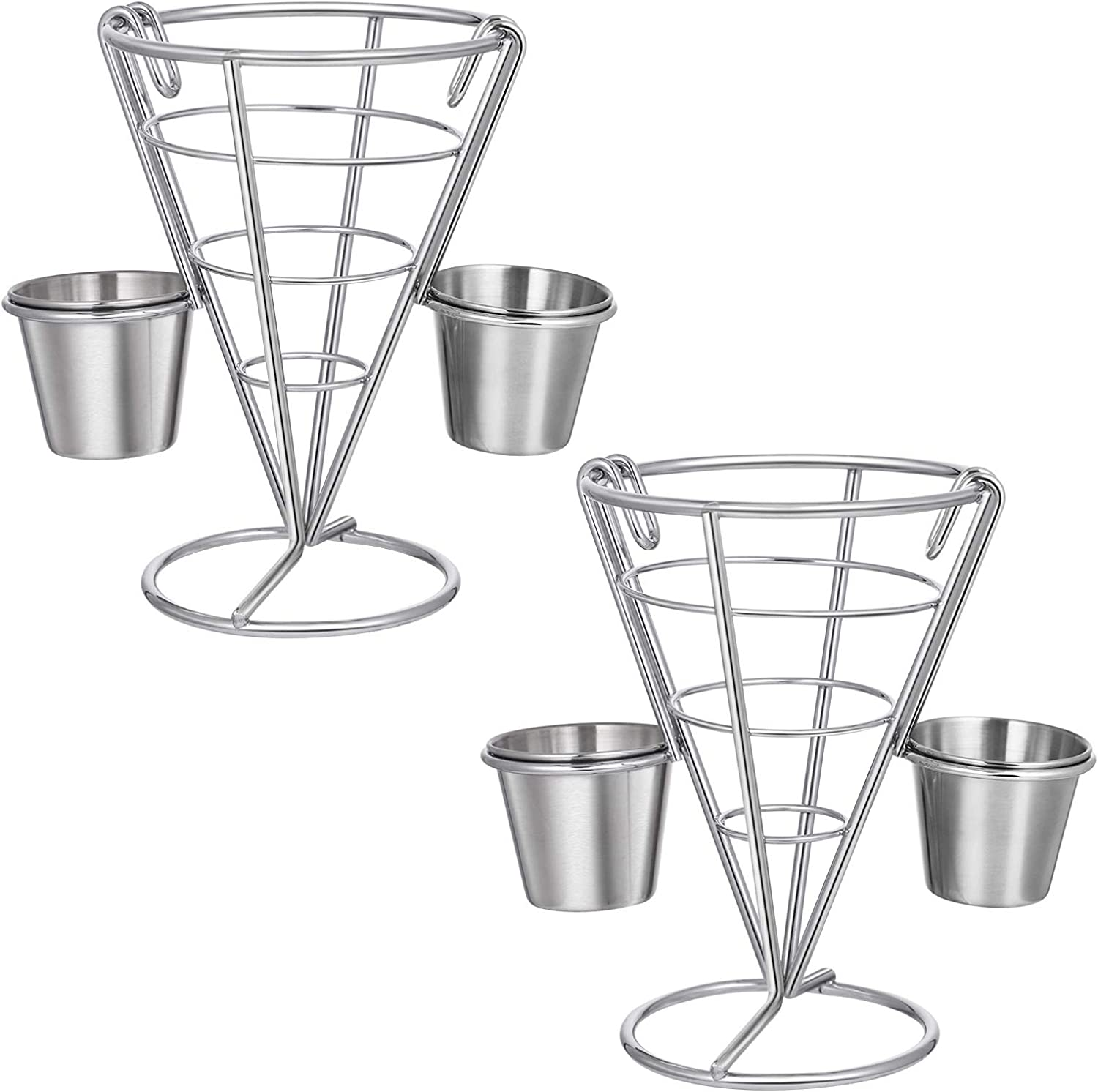 Hemoton 2pcs French Fries Stands Fish and Chips Basket Holders Snack Appetizer Serving Rack Food Display Wire Stands for Kitchen Restaurant Buffet