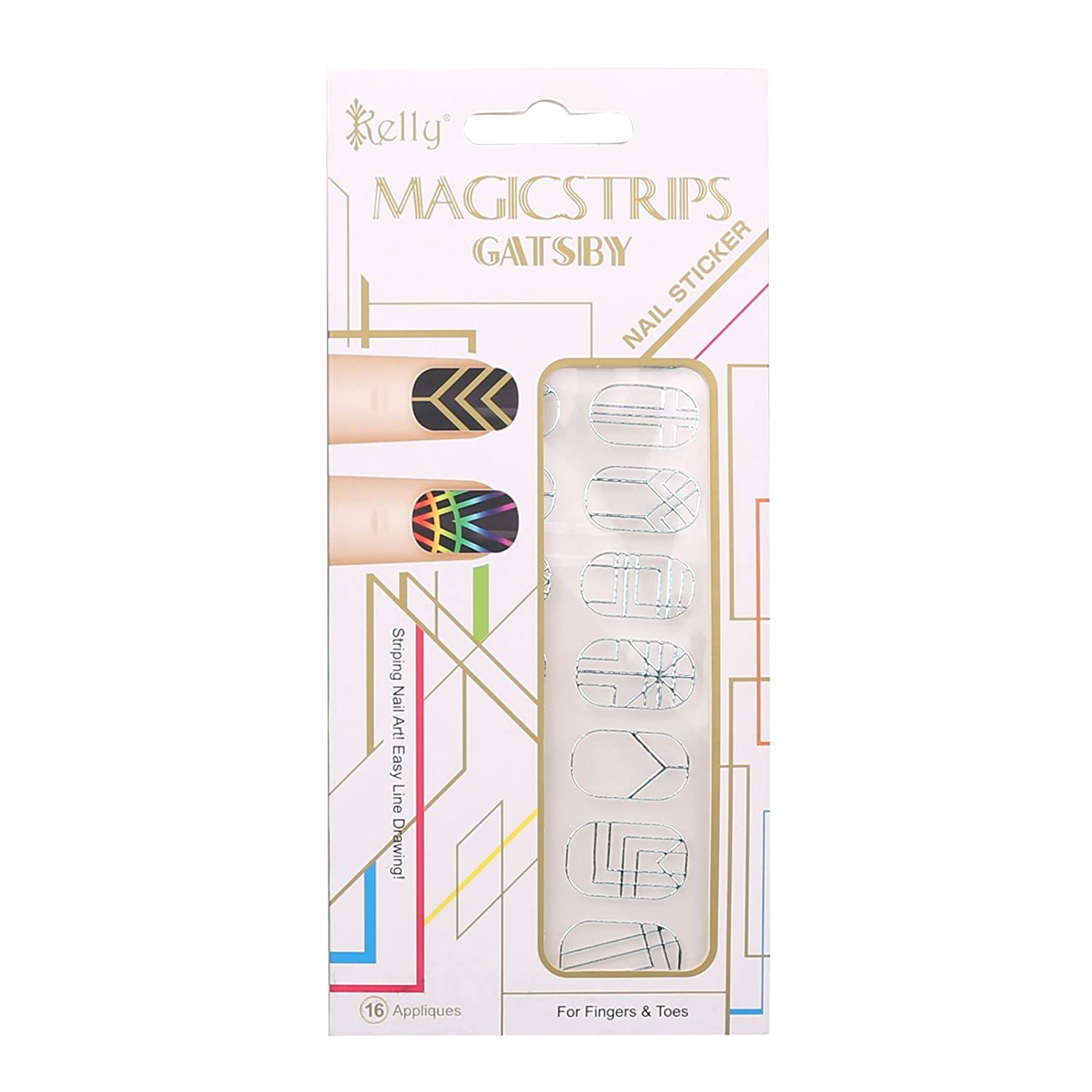 Kelly Gatsby Series Manicure DIY Magic Strips Nail Stickers Nail Wraps, 3pcs with Random Patterns, Gold HIGH' S