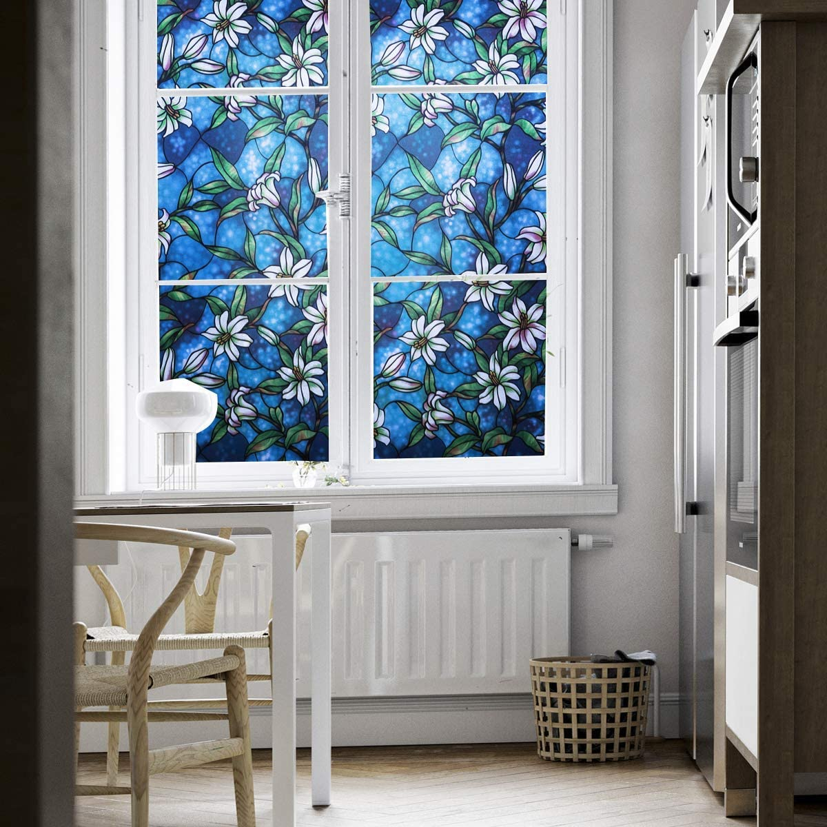 Coavas Window Privacy Film 118 x 17.7 Inches Decorative Non-Adhesive Stained Glass Window Covering Clings Privacy for Home Bathroom Kitchen Office